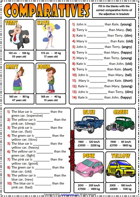 printable exercise quiz comparatives esl printable gap fill exercises quiz for