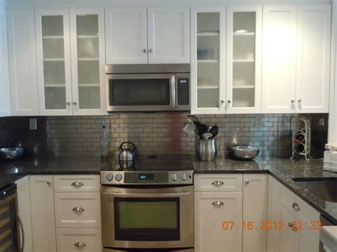Aluminum Backsplash Kitchen White With Metal Backsplash Traditional Kitchen New