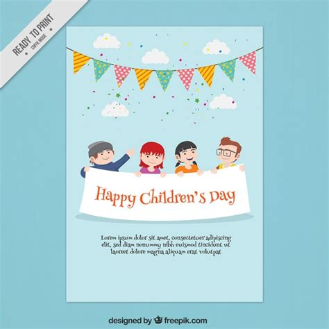 children s day card template celebration card of children s day vector free