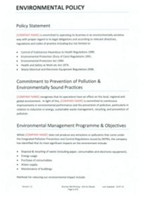 environmental management program template environmental policy archives brunton bid writing