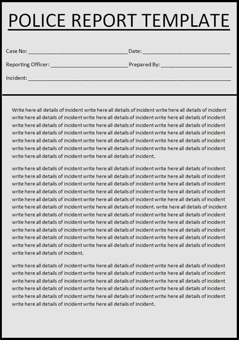blank police report template images