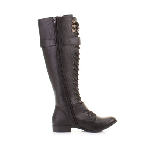 womens boots rocket beany black knee high lace up