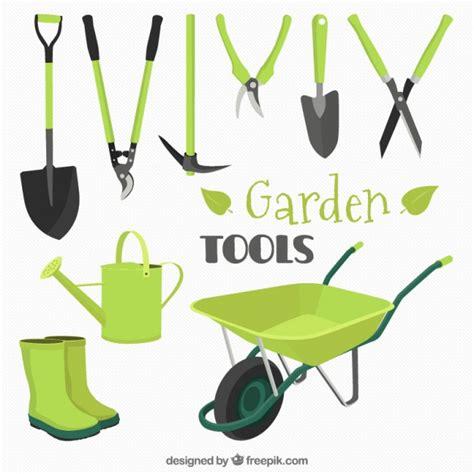 garden tools collection of garden tools in green color vector premium