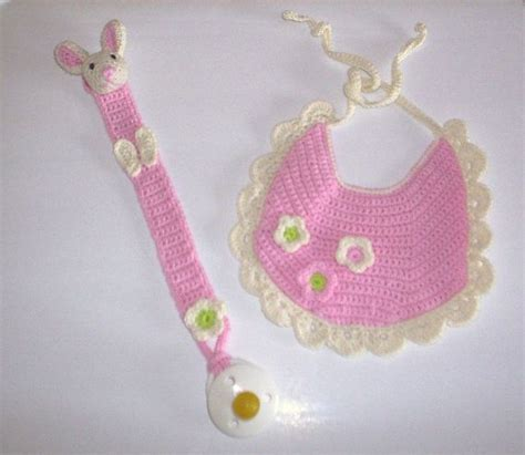 free pattern pacifier holder crochet pattern baby bib with flowers and pacifier holder
