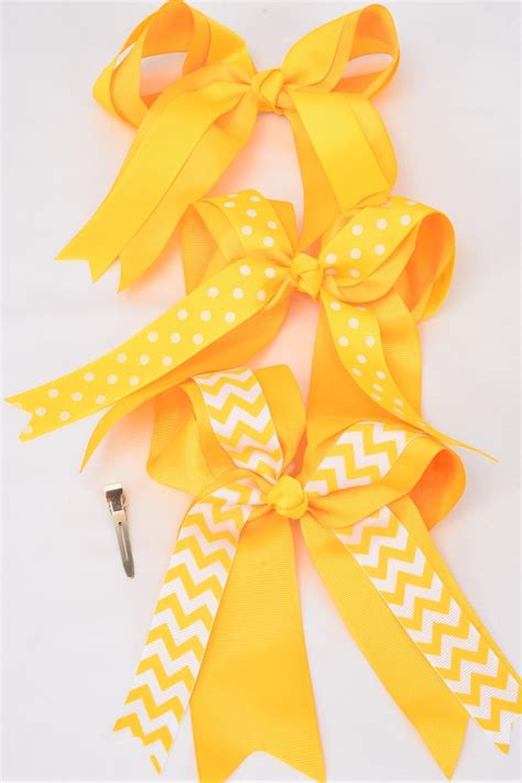 Jumbo Future Polka hair bow jumbo yellow chevron polka dots mix