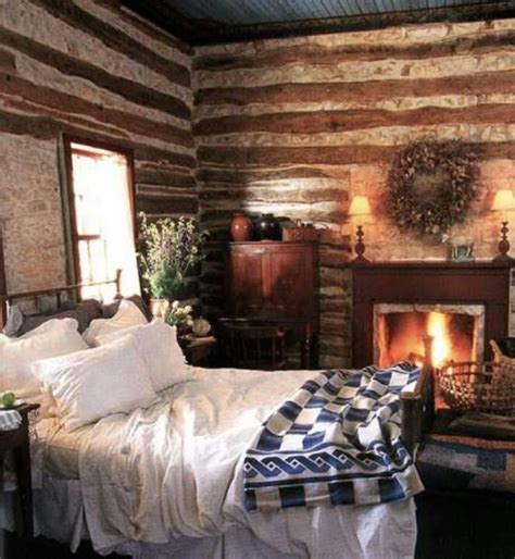 Cozy Bedroom With Fireplace Bedroom Cabin Theme My Log Cabin Decor