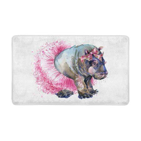 hippo bath rug mkhert fashion baby hippo splash watercolor animal