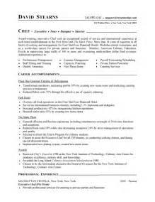 Resume Sle For Chef by Chef Resume Free Sle Culinary Resume
