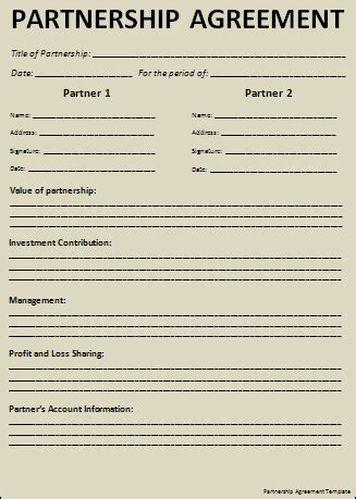sle partnership agreement free word s templates
