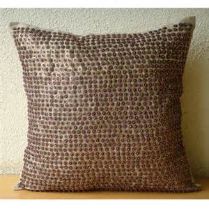 Designer Accent Pillows Brown Throw Pillows Cover Square Sequins Beaded Dotted