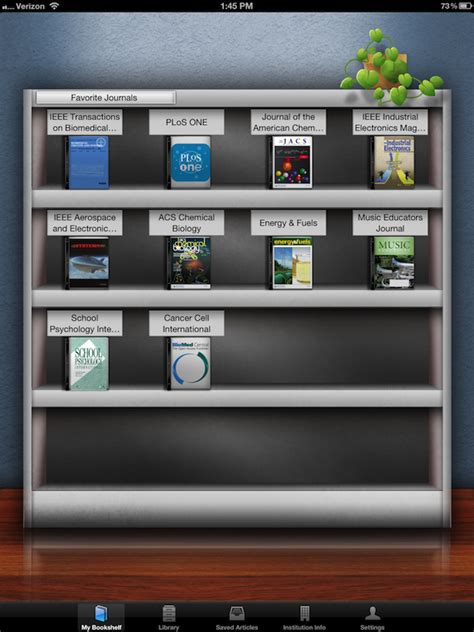 my bookshelf browzine app screenshot ust libraries