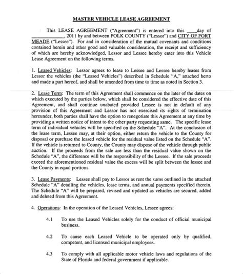 12 Vehicle Lease Agreement Templates Sles Exles Format Sle Templates Truck Lease Purchase Agreement Template