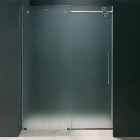 Vigo 48 Inch Frameless Shower Door 3 8 Frosted Glass 48 Inch Glass Shower Door