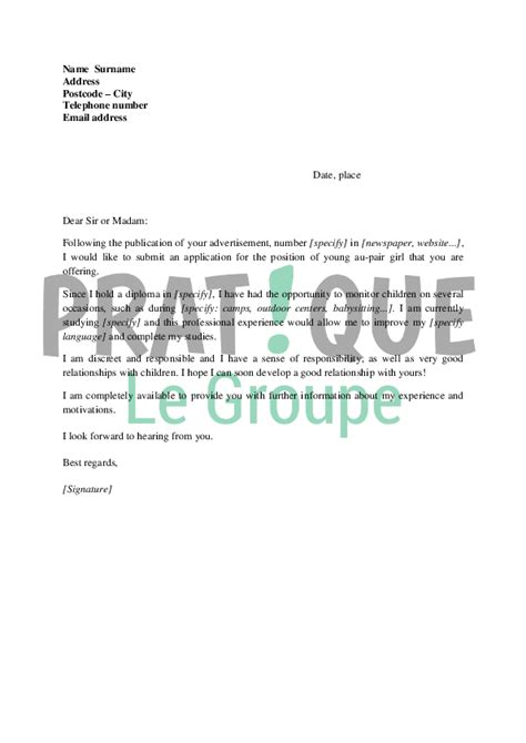 Lettre De Motivation Anglais Baby Sitting Lettre De Motivation Fille Au Pair En Anglais Pratique Fr