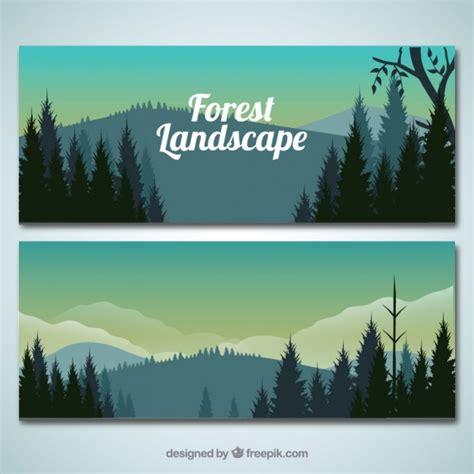design banner landscape realistic forest landscape banners vector free download