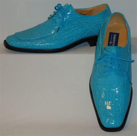 mens gorgeous shiny turquoise blue faux croco dress shoes