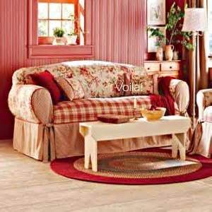 French Country Sofa Slipcovers Sure Fit Shabby French Floral Toile Plaid Sofa Slipcover