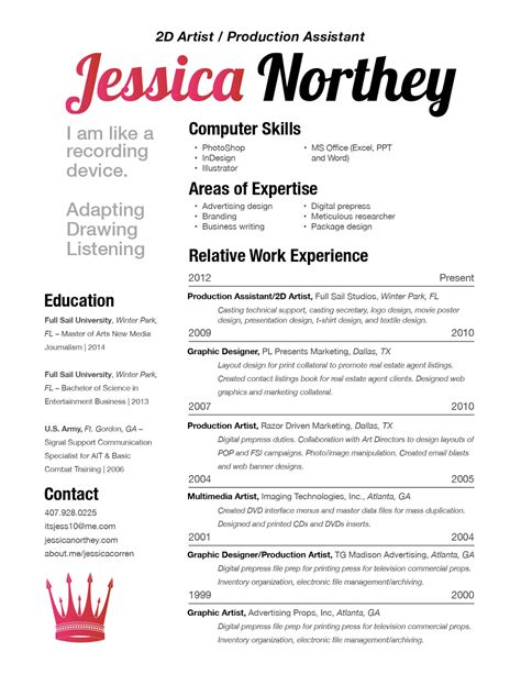 Resume About Me Creative C Northey Resume Sle Of Work