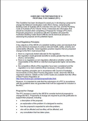 proposal design and writing proposal for change template australian building codes board