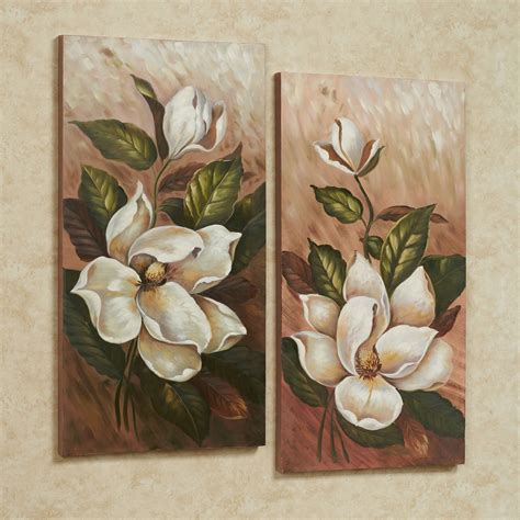 Magnolia Wall Decor annalynn magnolia floral canvas wall set