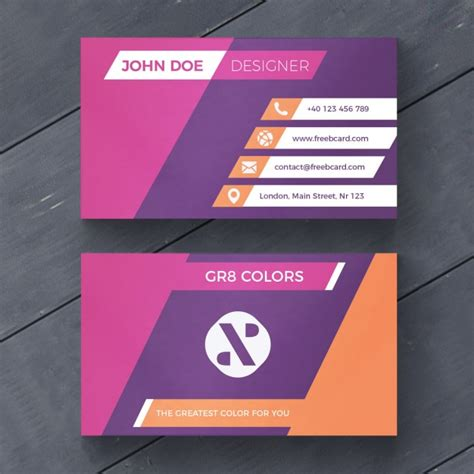purple business card template free purple and orange business card psd file free