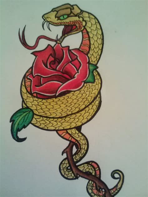 snake rose tattoo snake and design by samanthalyn1 on deviantart