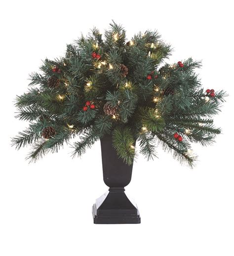 pre lit christmas topiary trees 2 pre lit potted artificial topiary with pinecones berries tree ebay