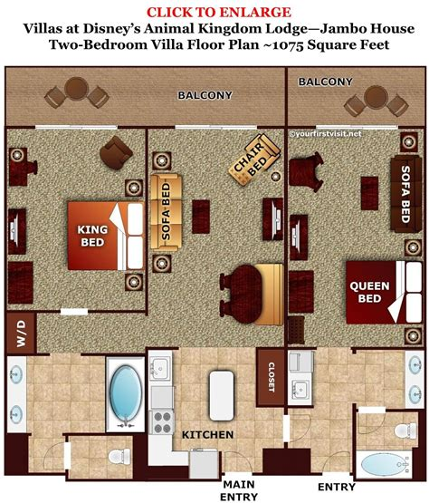 Kidani Village 2 Bedroom Villa Floor Plan by Photo Tour One Bedroom Villa Bath Master Bedroom Space