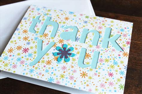 Thank You Card Handmade - card a thank you card with cut out letters