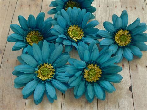 Silk Flower silk flowers six turquoise aqua blue artificial by