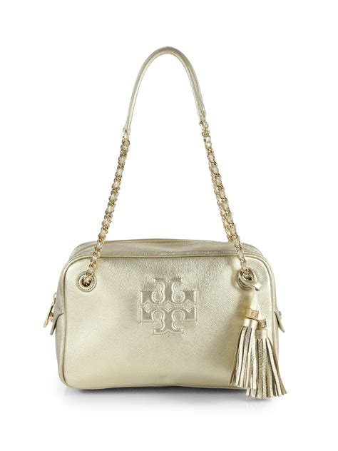 Ficcare Metallic Leather Bags by Burch Metallic Leather Shoulder Bag In Gold Light
