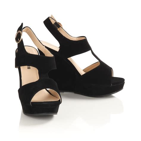 womens black suede wedge sandals