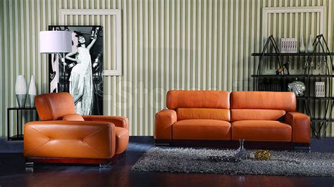 italian leather living room furniture genuine italian leather 2 pc sofa set in orange finish