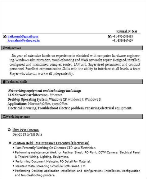 iti electrician resume format 52 resume format sles sle templates