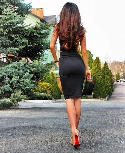 black tight dress and pumps in high heels