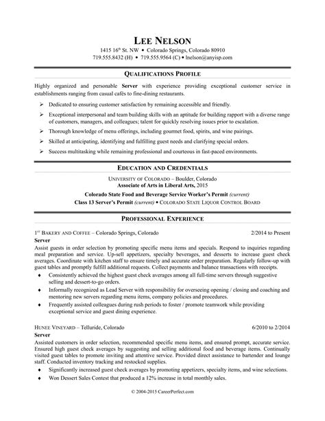 cover letter catering server sle resume resume daily