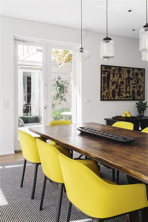 yellow dining room furniture this wooden table has a very modern design also
