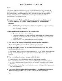 Research Article Outline by