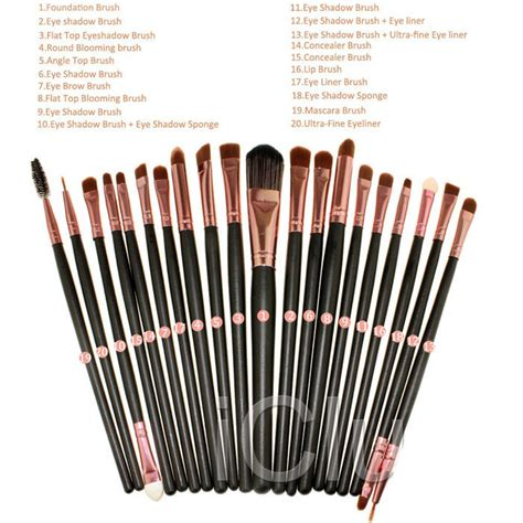 Kuas Set Fashion Kuas Blush On Kuas Eyeshadow Kuas Make Up kuas make up uk professional cosmetic brush 20 set black brown jakartanotebook