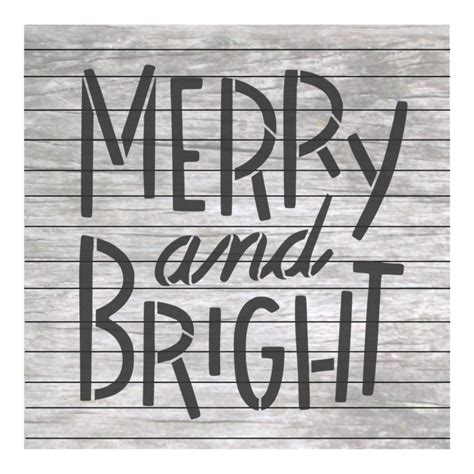 christmas words merry  bright painting stencil nw