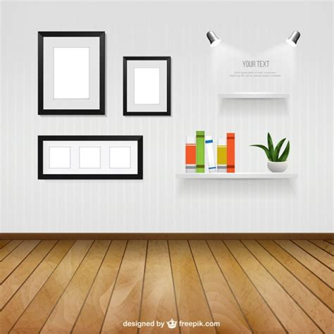 interior room with wall frames and shelves vector free