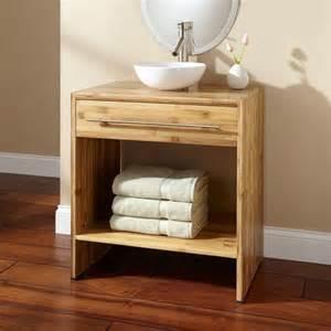 ordinary Salle De Bain Grise Et Blanc #1: meuble-salle-bain-bambou-poign%C3%A9e-acier-bross%C3%A9-vasque-poser.jpg