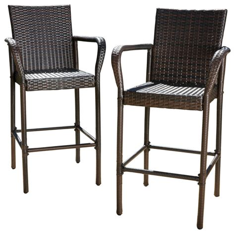 outdoor wicker bar stool set of 2 stewart outdoor brown wicker barstool
