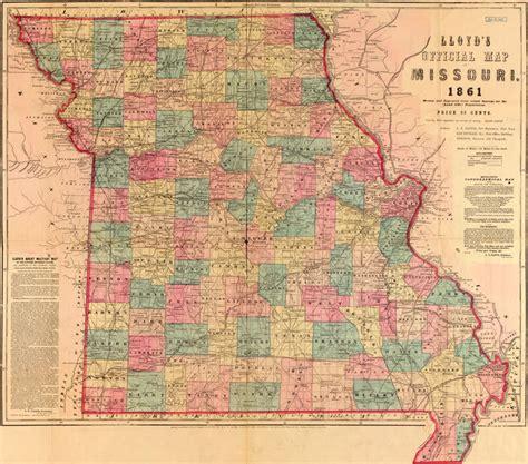 State Of Missouri Records Free Missouri State 1861 Historic Map By J T Lloyd Reprint