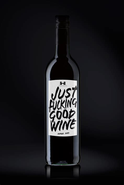 cool wine just f ing wine cool punk label design concept