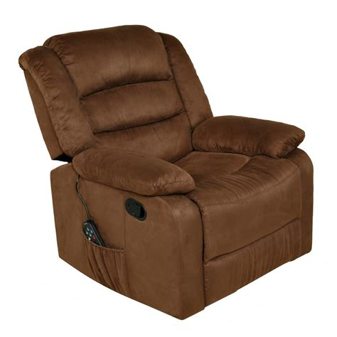 rocker recliner with massage and heat relaxzen brown microfiber rocker recliner with heat