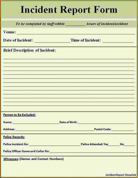 serious incident report template injury incident report form template