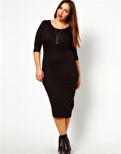 new look inspire 3 4 sleeve midi dress plus sizes