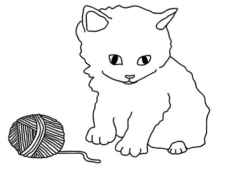 Kitten Yarn Coloring Page | free printable kitten coloring pages for kids best