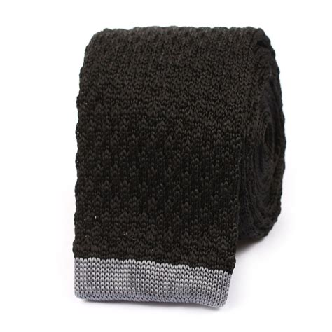 black knit tie black knitted tie with grey flat end knit ties knits